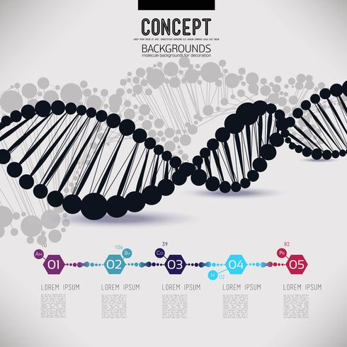 DNA de treliça geométrica preto abstrato vetor