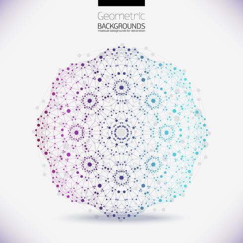 Estrutura geométrica abstrata, o escopo das moléculas, as moléculas no círculo. vetor