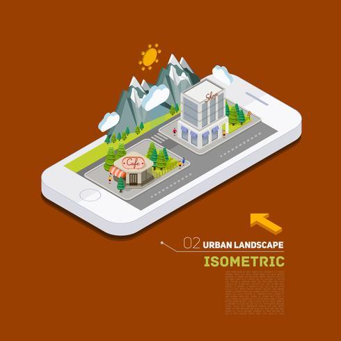 Apartamento paisagem rua infográfico 3d conceito isométrico no telefone vetor