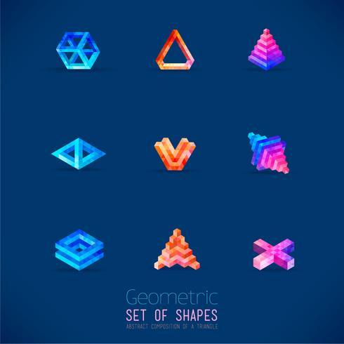 Conjunto de figuras geométricas abstratas de cor coletadas de um triângulo. vetor