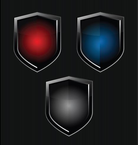 Escudo de ouro e preto vetor