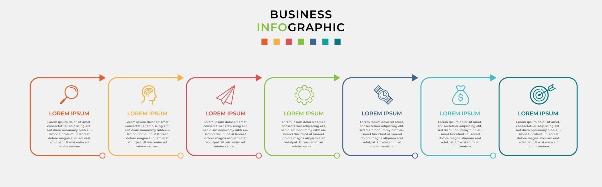 infográfico design modelo de negócios com ícones e 7 opções ou etapas vetor