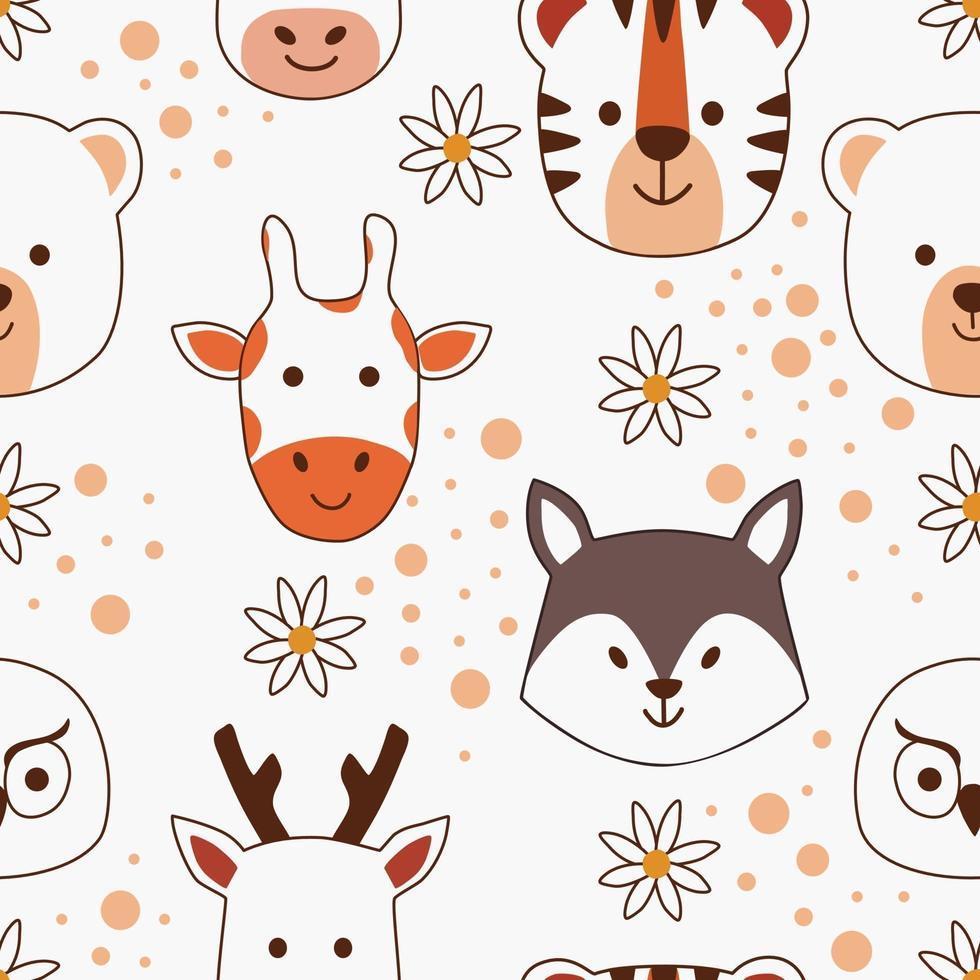 rosto de animal fofo desenho sem costura padrão vetor