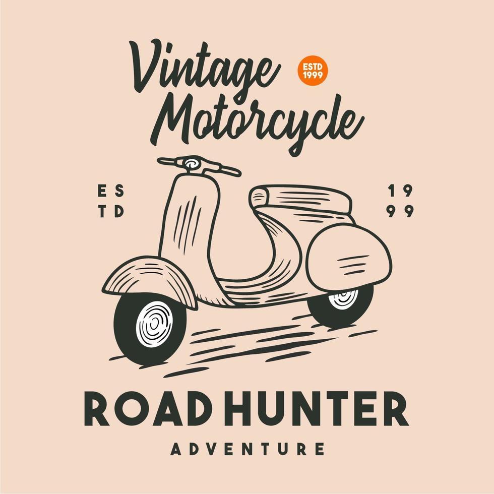 motocicleta vintage clássica ilustração design para camisa vetor