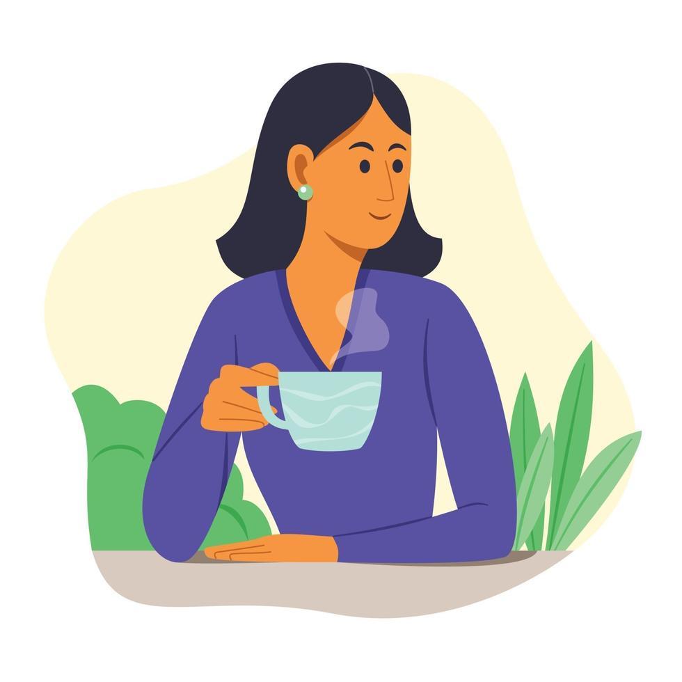 mulher bebe uma bebida quente no jardim. vetor