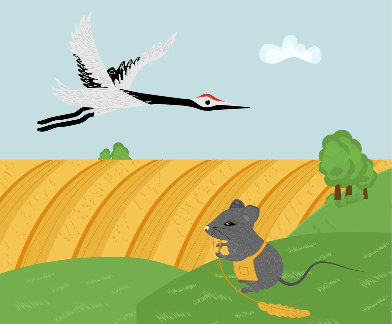 panorama de paisagem rural com cegonha e rato com espigueta vetor
