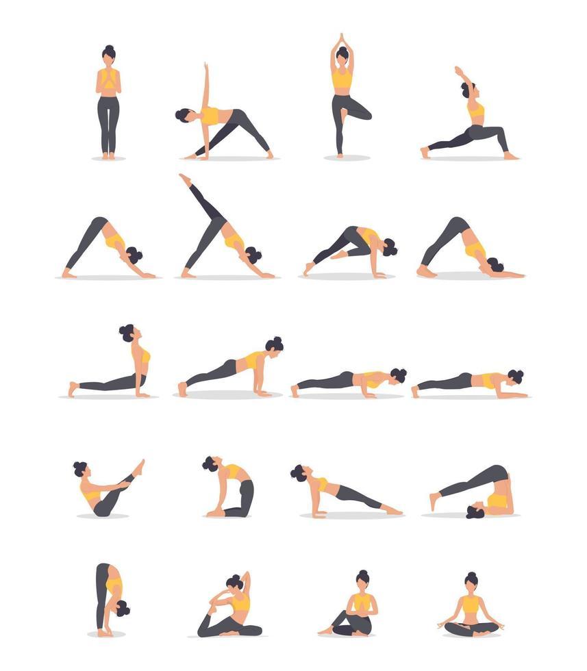 conjunto de poses de ioga isoladas no branco. ilustração vetorial vetor