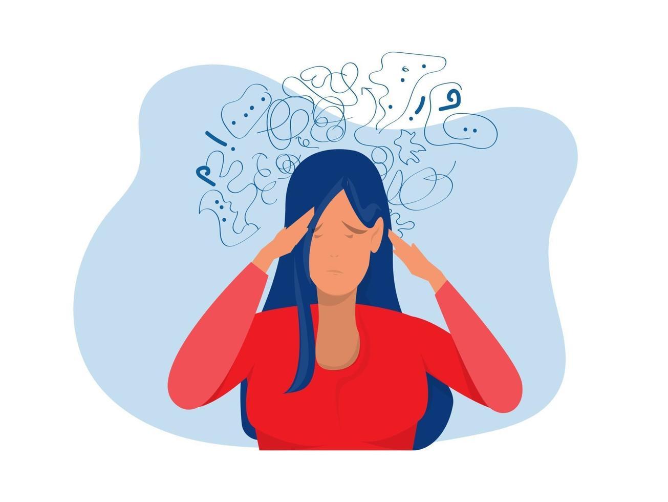 mulher sofre de pensamentos obsessivos, dor de cabeça, depressão não resolvida vetor