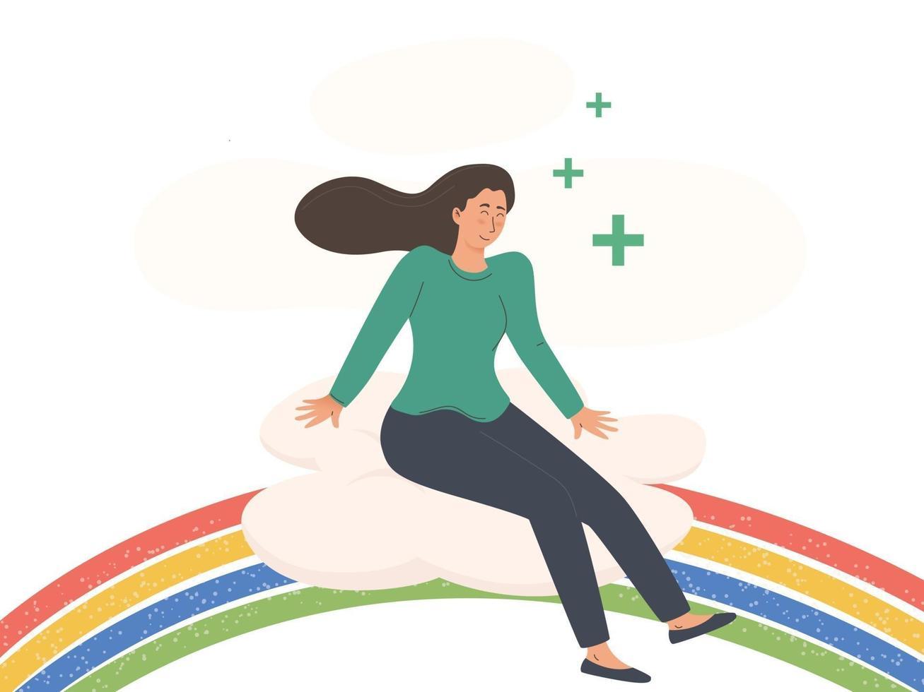 jovem sentada em um corpo arco-íris positivo e conceito de saúde vetor