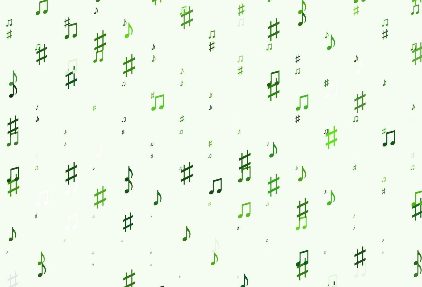 padrão de vetor verde claro com elementos de música.