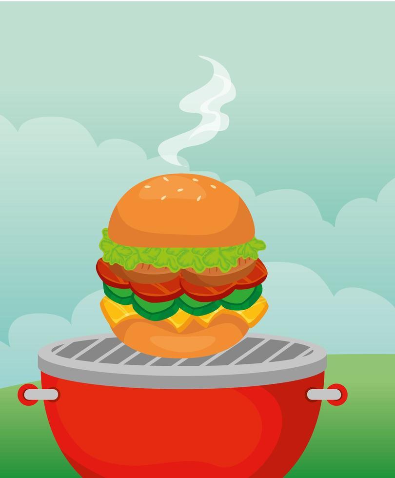 hambúrguer delicioso fast food no forno vetor