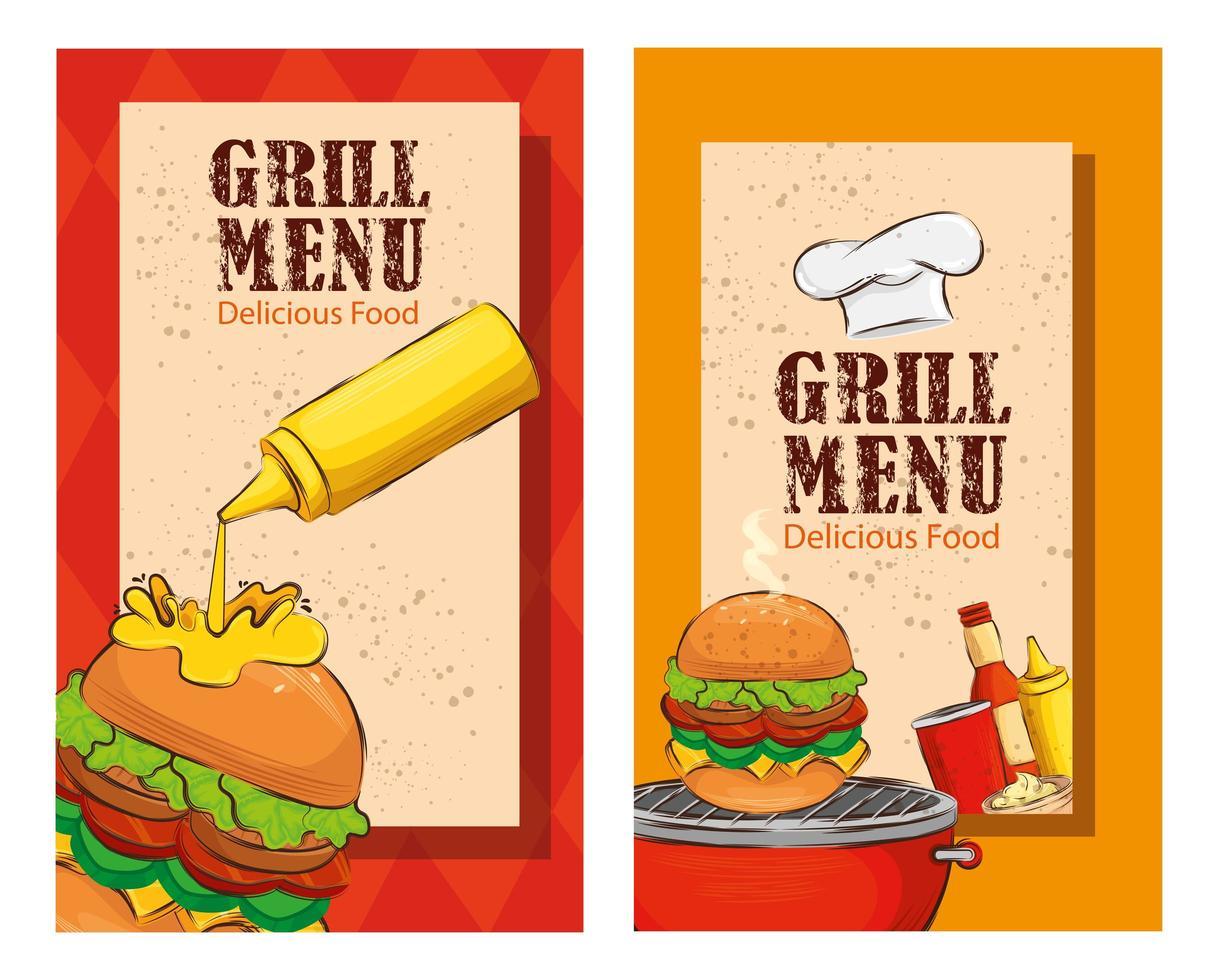conjunto de pôster do menu de grelhados com hambúrgueres deliciosos vetor
