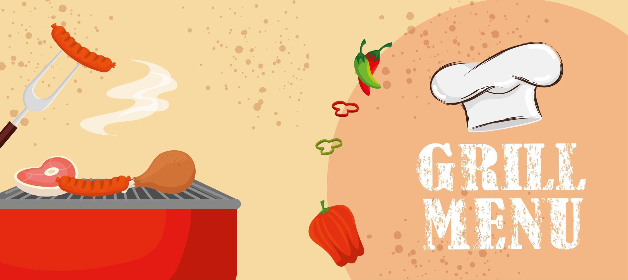 cardápio de grelhados com deliciosas comidas e verduras vetor