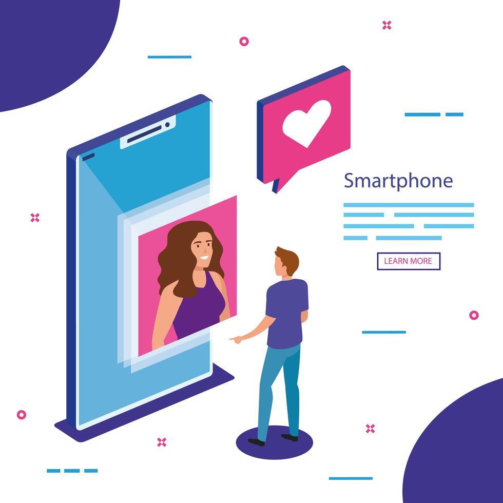 smartphone isométrico e design de vetor de pessoas