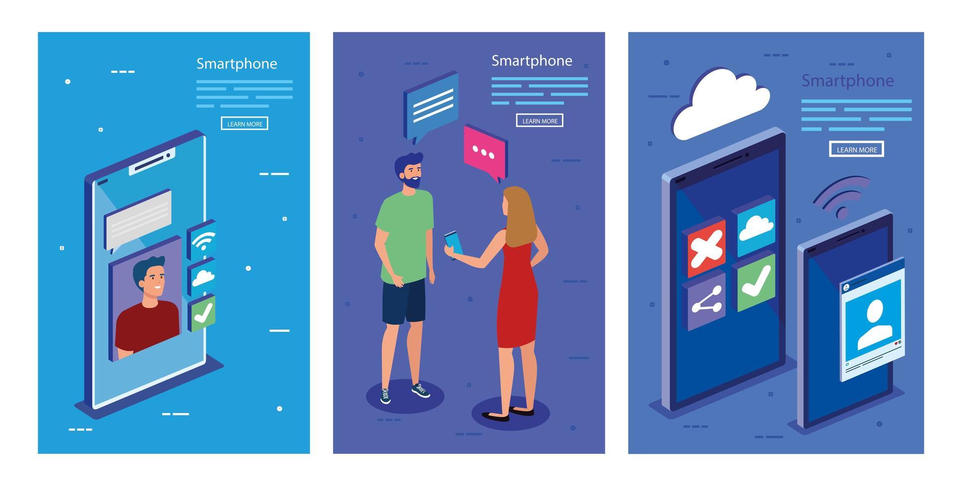 smartphones isométricos e desenho vetorial de pessoas vetor