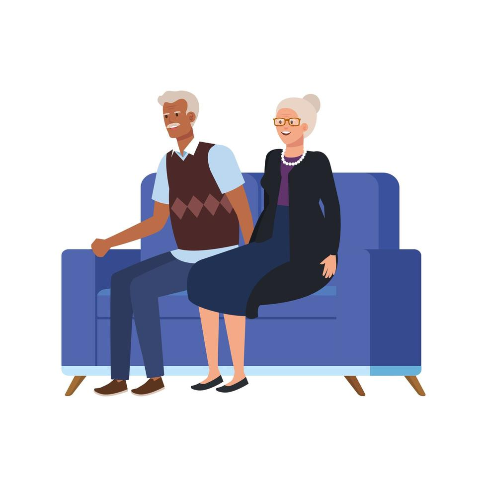 casal de idosos sentado no sofá personagem avatar vetor