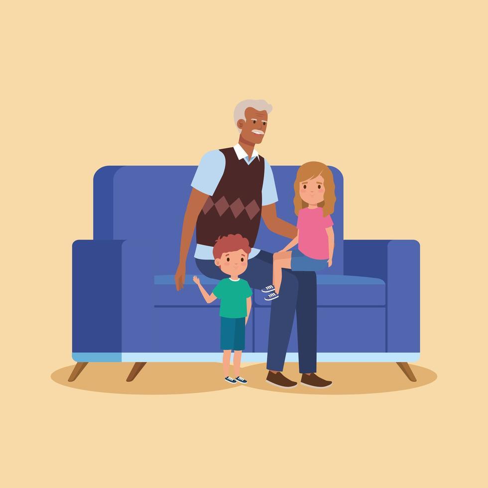 avô com netos sentados no sofá vetor