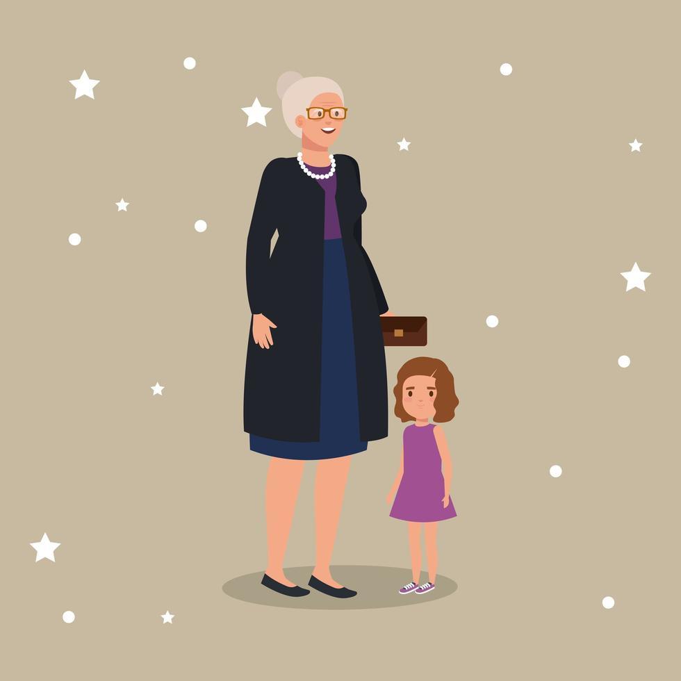 avó com personagem de neta avatar vetor