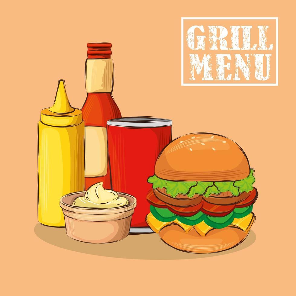 menu de grelhados com hambúrguer delicioso vetor