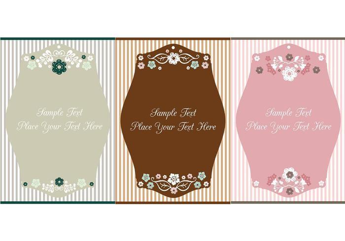 Pacote de vetores de etiqueta floral vintage