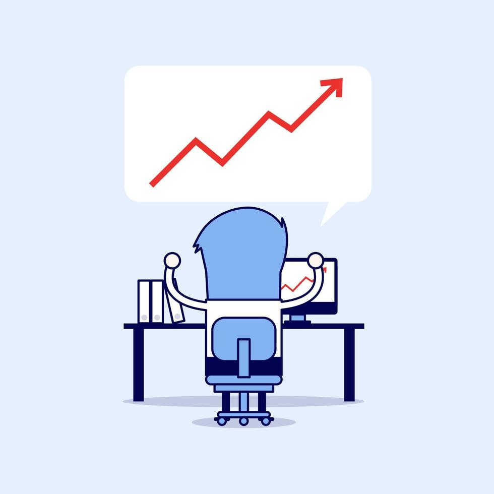 empresário de sucesso com gráfico de crescimento. vetor