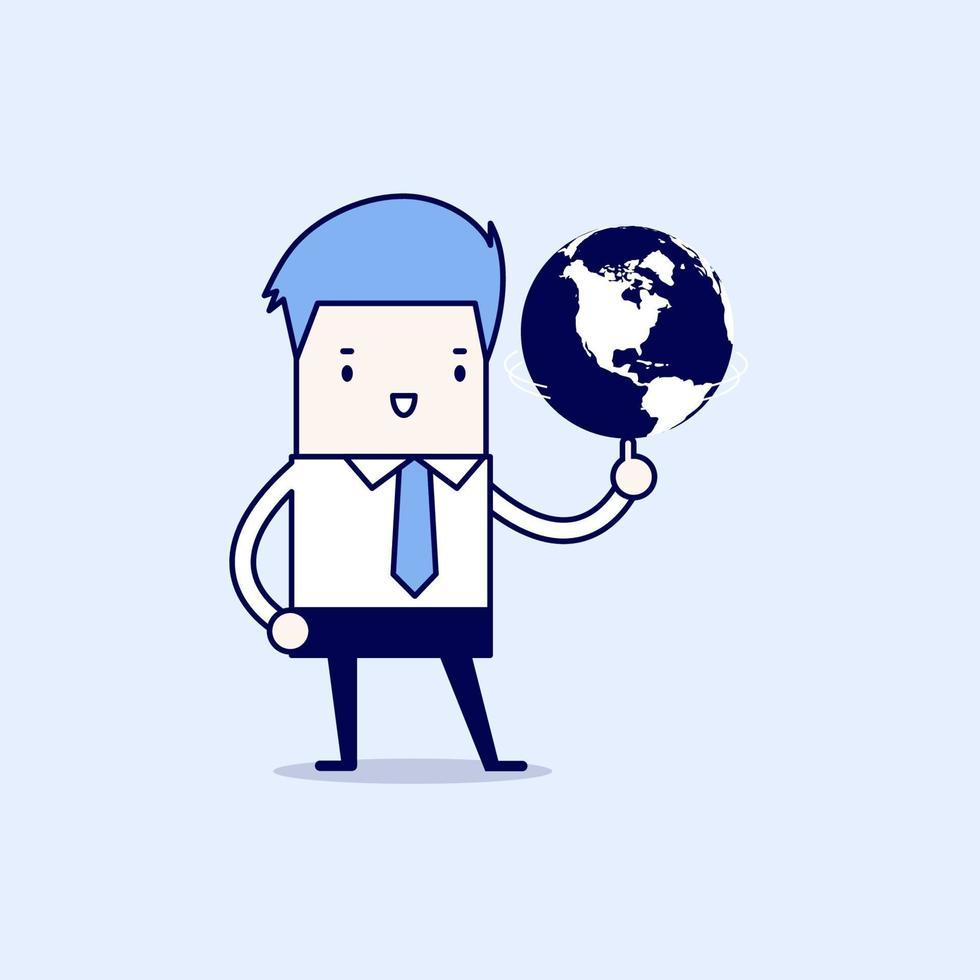 empresário girando o globo. vetor