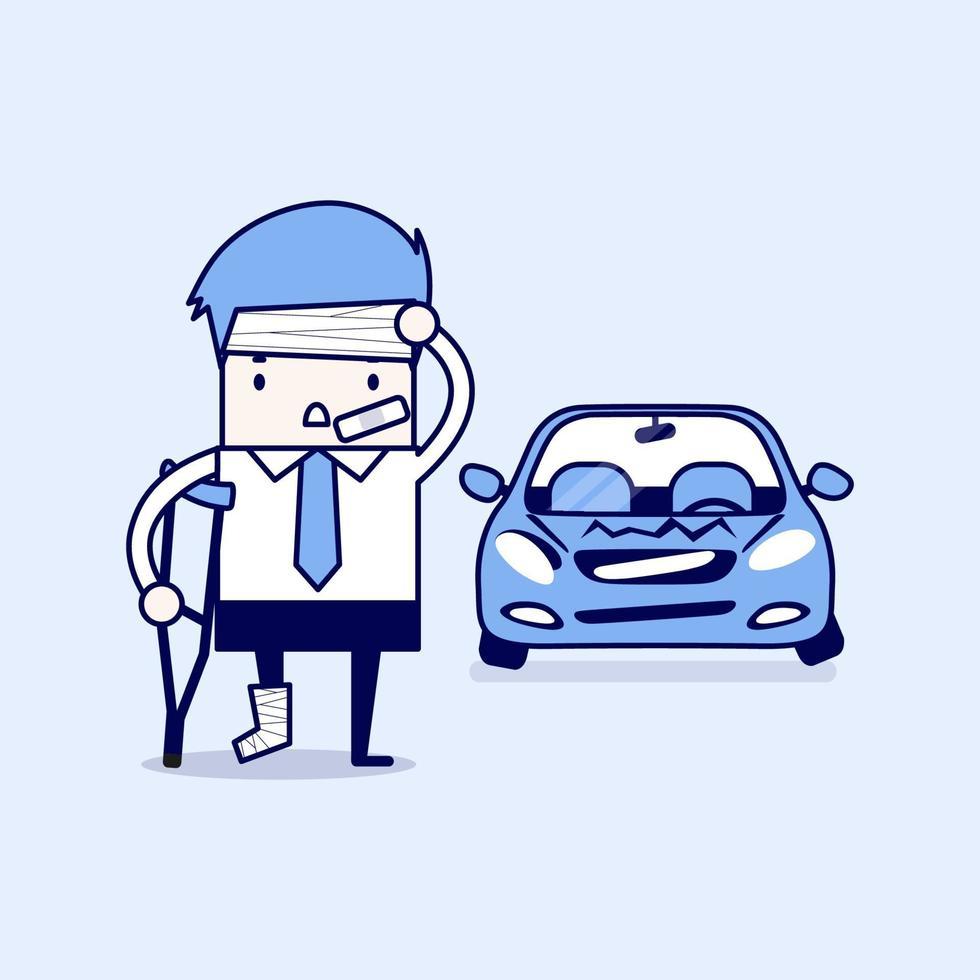 empresário ficar ferido com acidente de carro. vetor