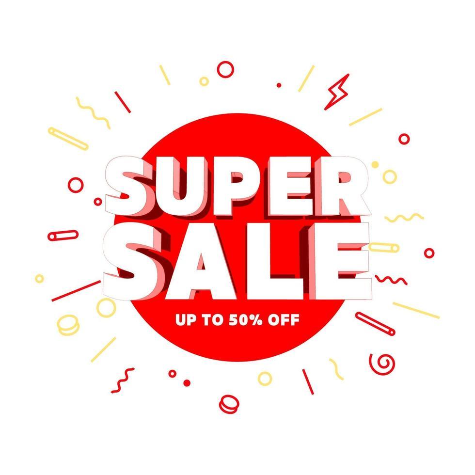 ofertas especiais de super venda e banner de promoção. vetor