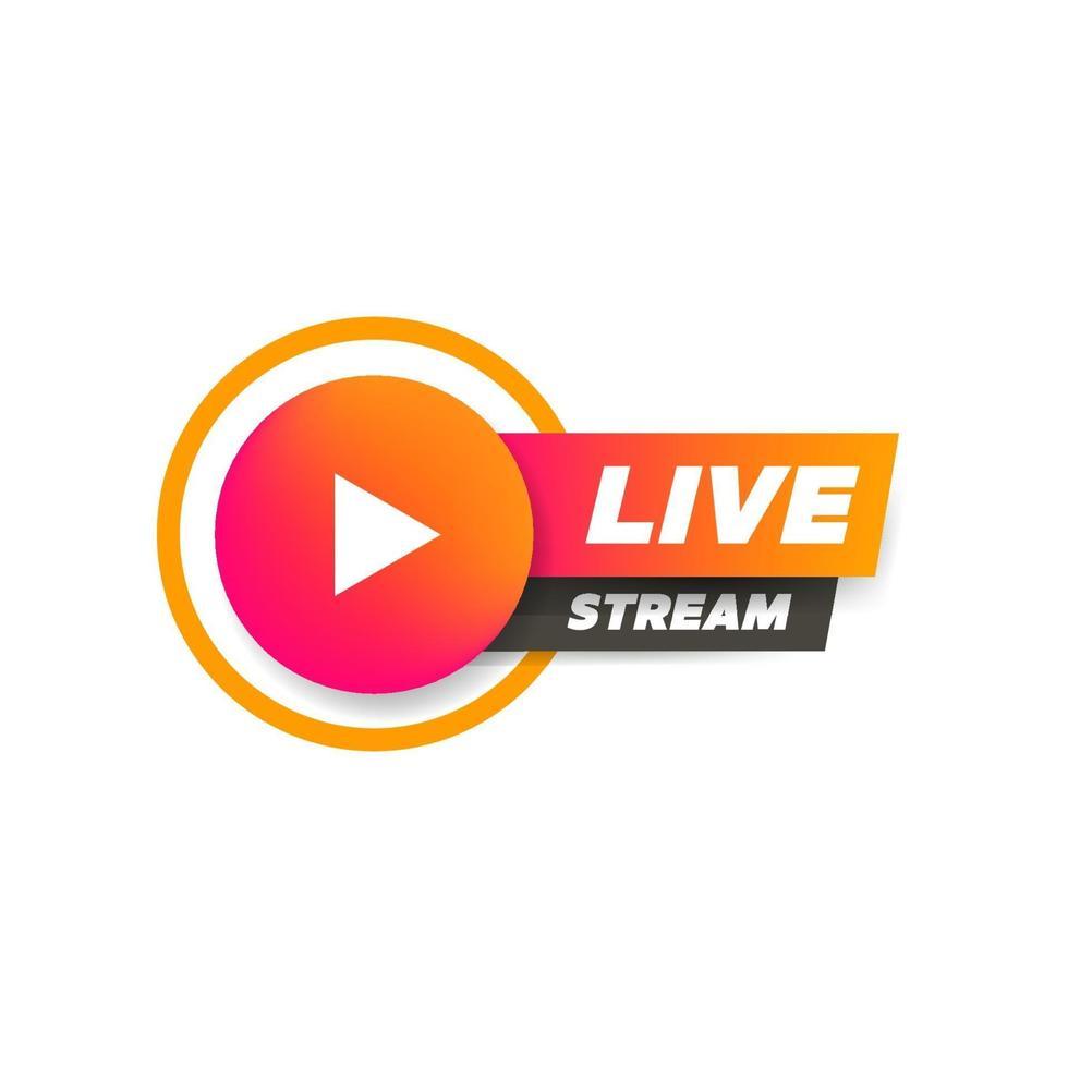 transmissão ao vivo com o símbolo do ícone do botão de reprodução. vetor