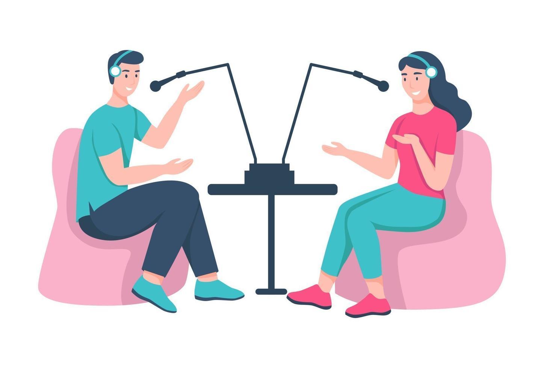 um jovem e uma mulher gravam um podcast no estúdio. vetor