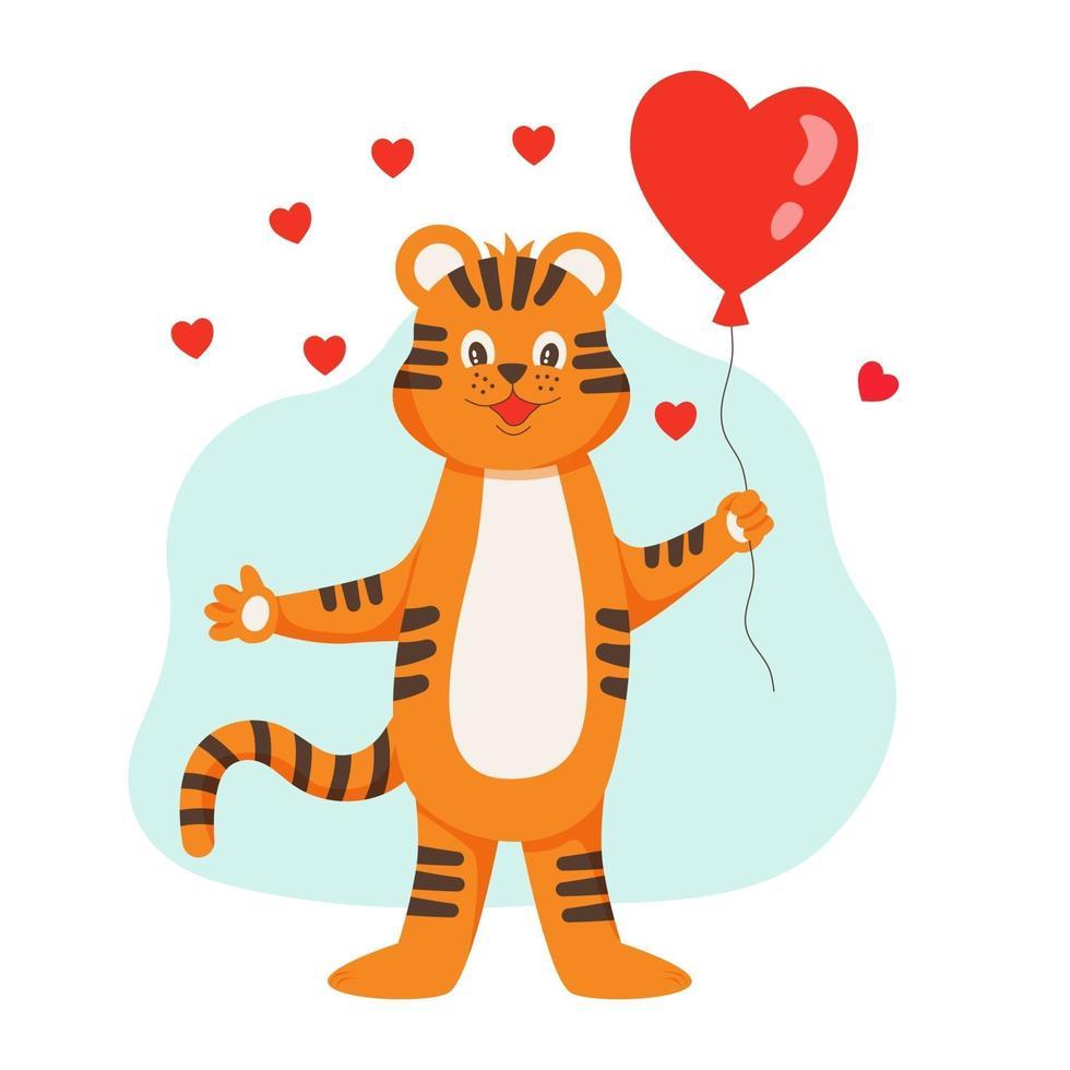 o tigre está segurando um balão em forma de coração. o símbolo do ano. vetor