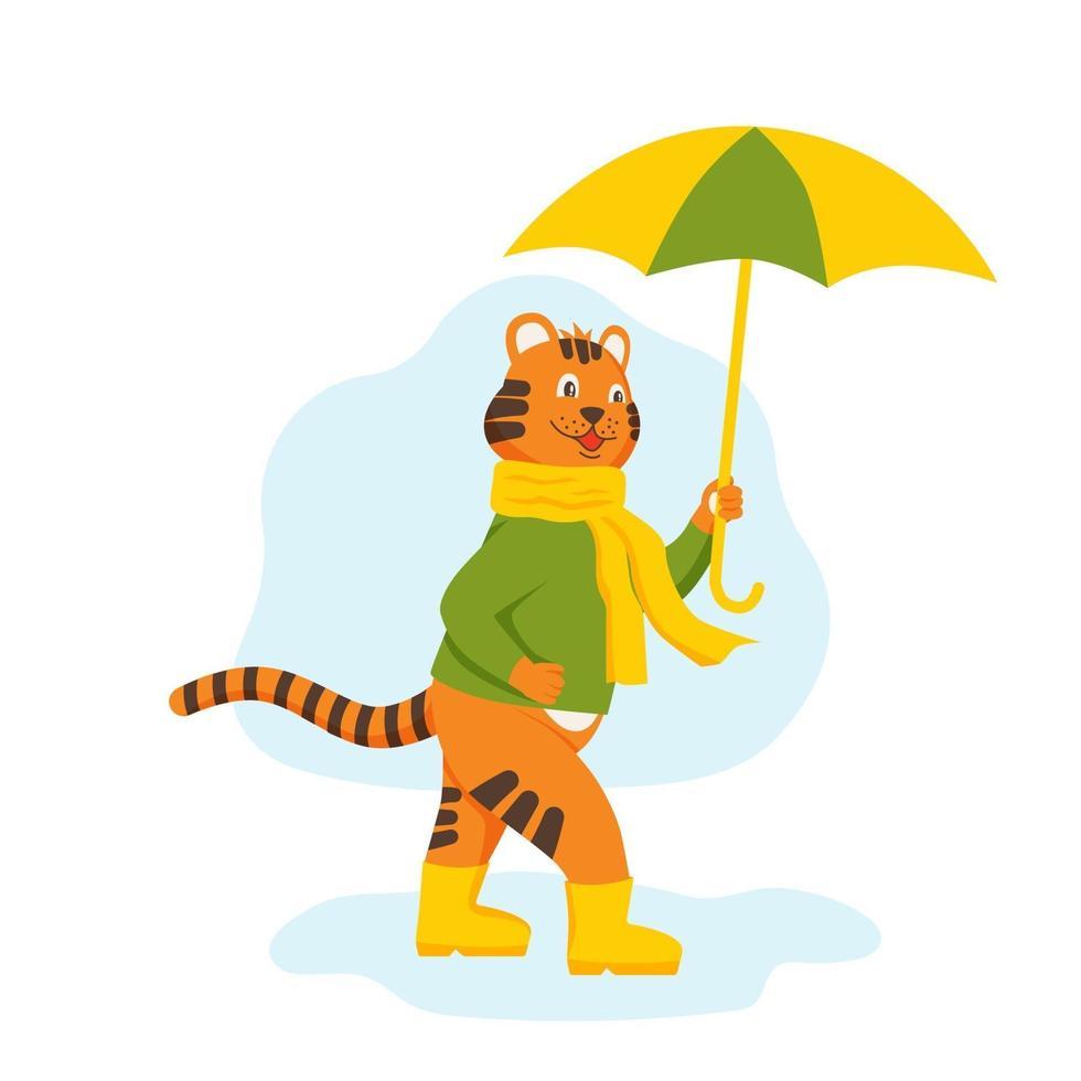 o personagem filhote de tigre caminha por poças com um guarda-chuva vetor