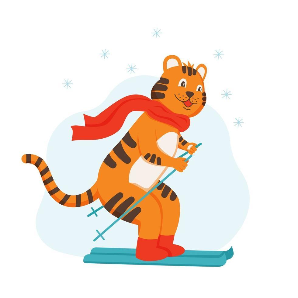 o personagem filhote de tigre anda de esquis. janeiro, o símbolo do ano vetor