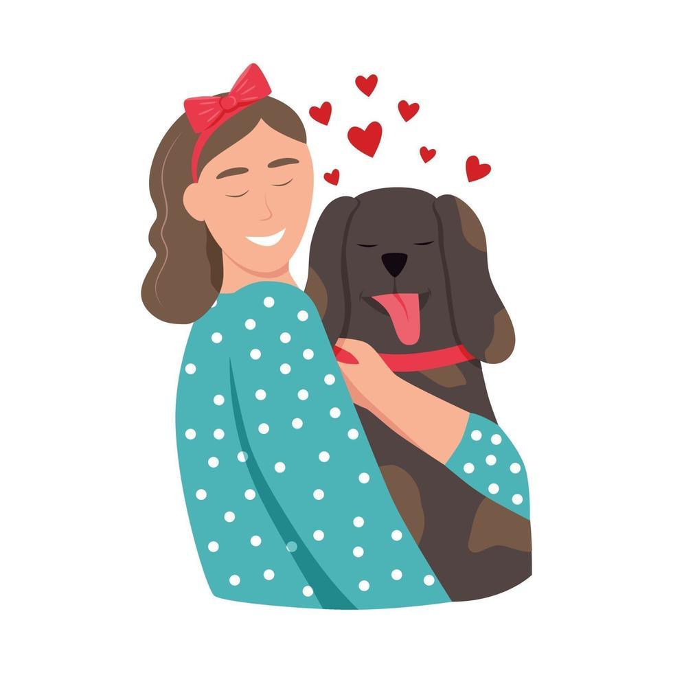 uma jovem abraça um cachorro vetor