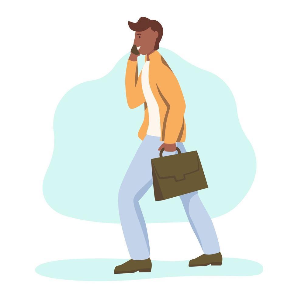 um jovem afro-americano com uma pasta caminha pela rua vetor