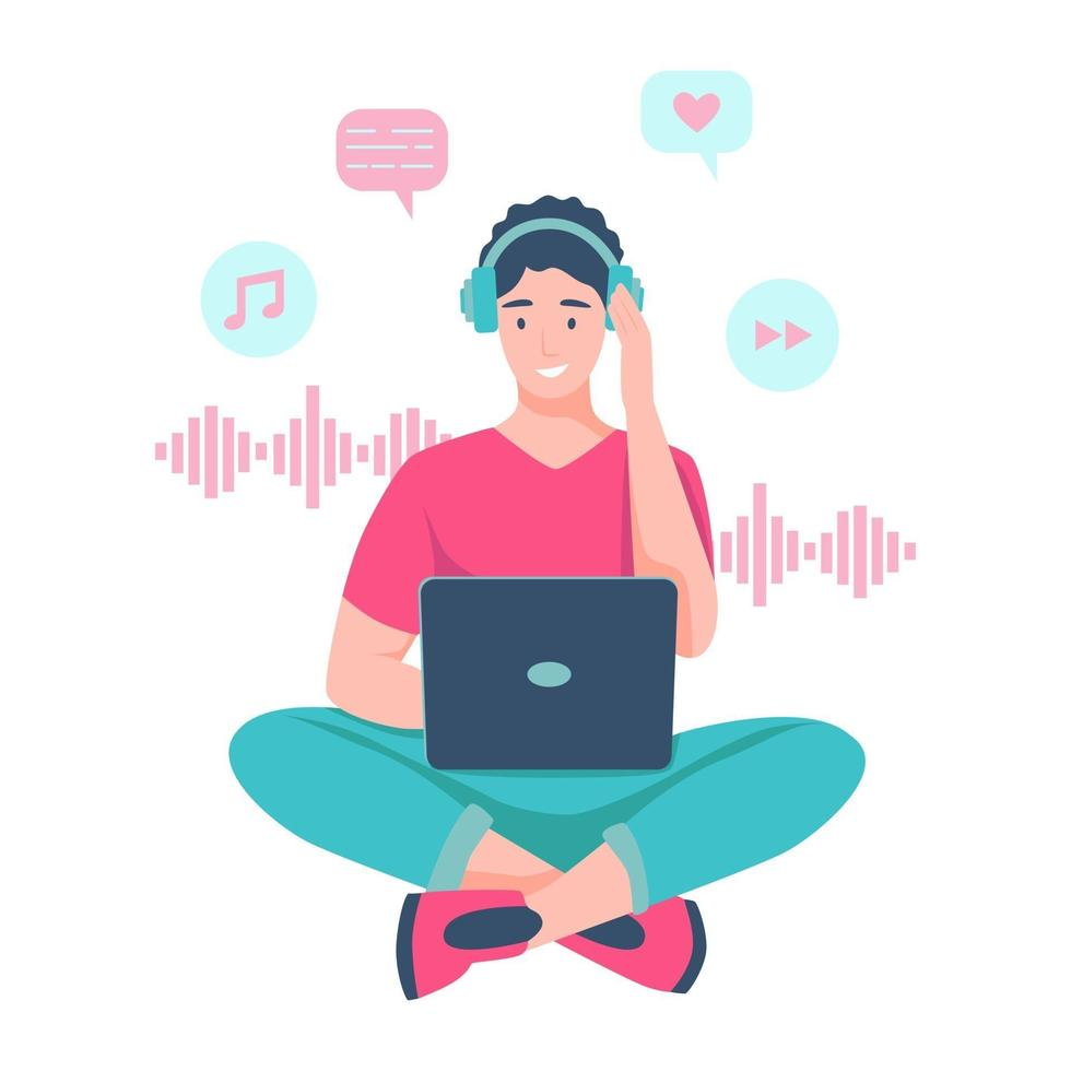um jovem se senta no chão e ouve música com fones de ouvido vetor