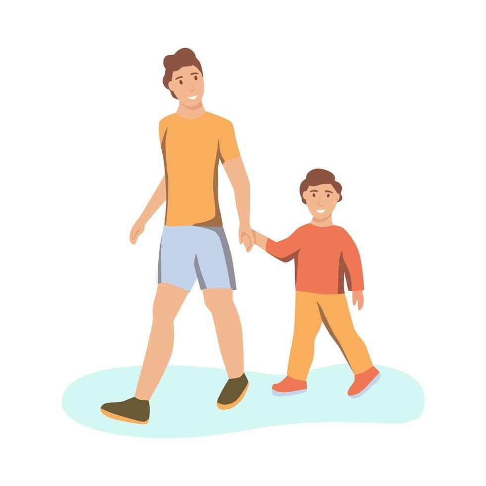 um jovem e seu filho dão as mãos e caminham vetor