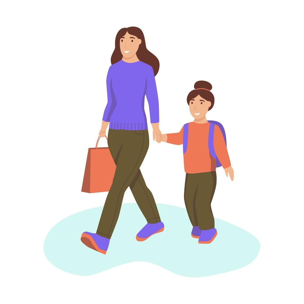 uma jovem e sua filha se dão as mãos e caminham vetor