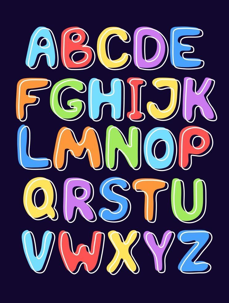 alfabeto inglês fofo desenhado à mão vetor