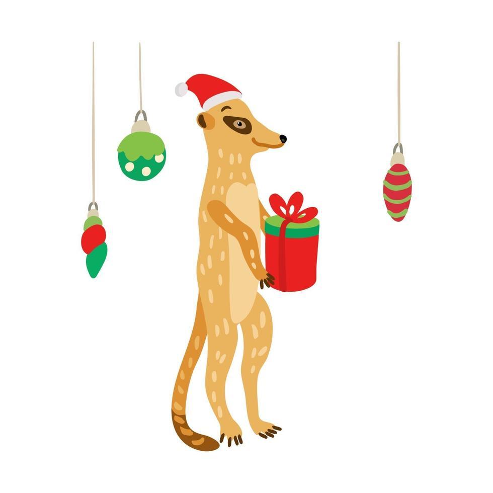 uma meerkat fofa com chapéu de papai noel e um presente vetor