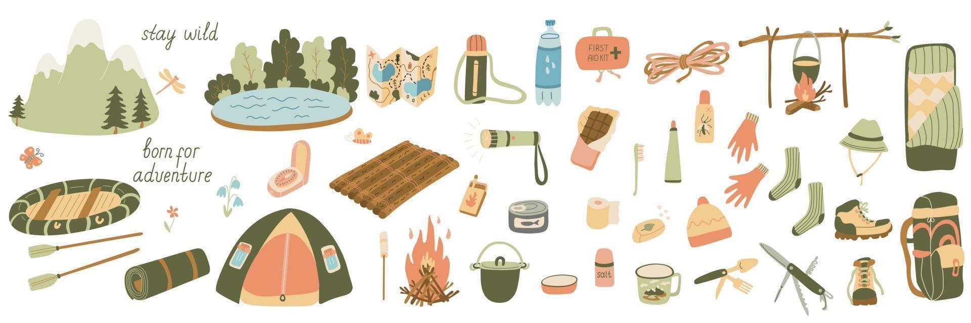 grande conjunto de ilustrações vetoriais de turismo e equipamentos de camping vetor