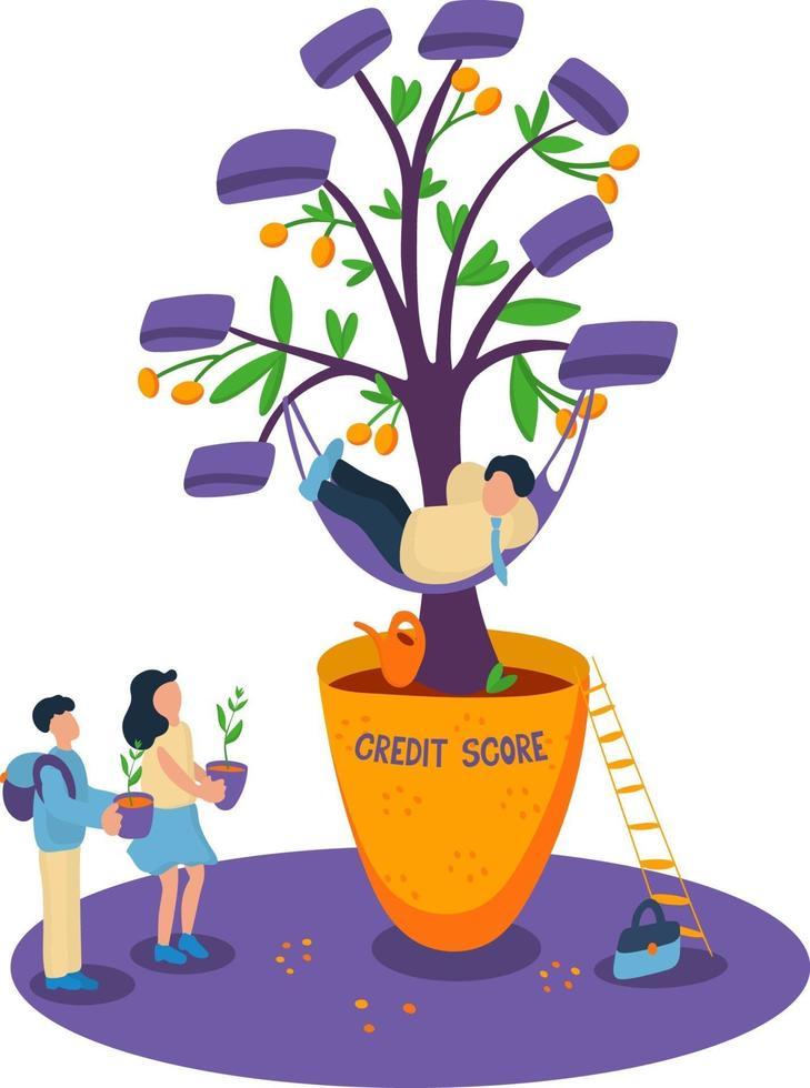 conceito crescente de pontuação de crédito com jovens e adultos. vetor