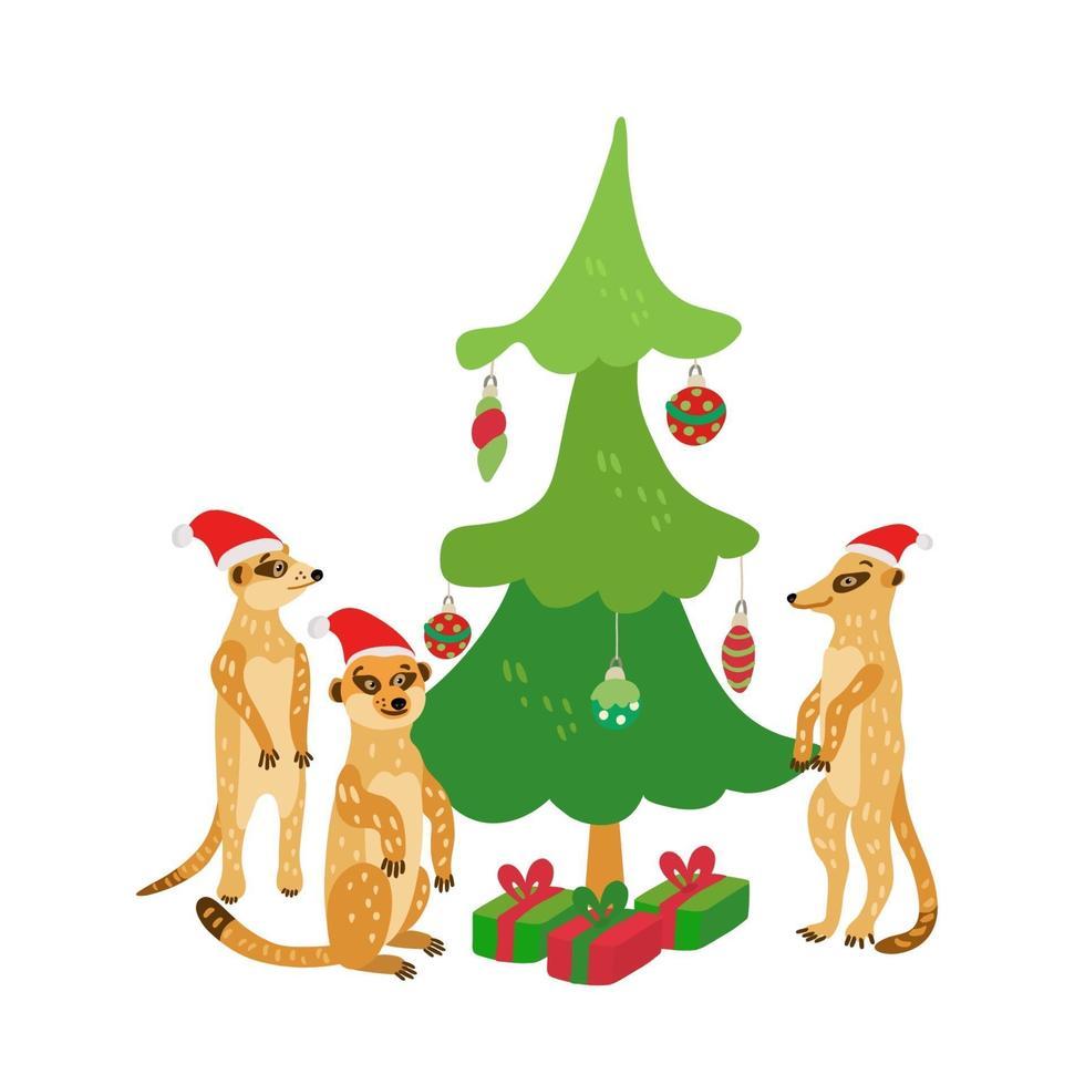 uma família feliz de suricatos usando chapéus de Papai Noel perto da árvore de Natal. vetor