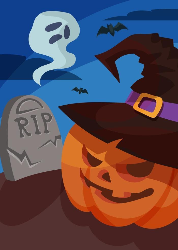 cartaz com cabeça de fantasma e abóbora. desenho de cartão postal de halloween. vetor