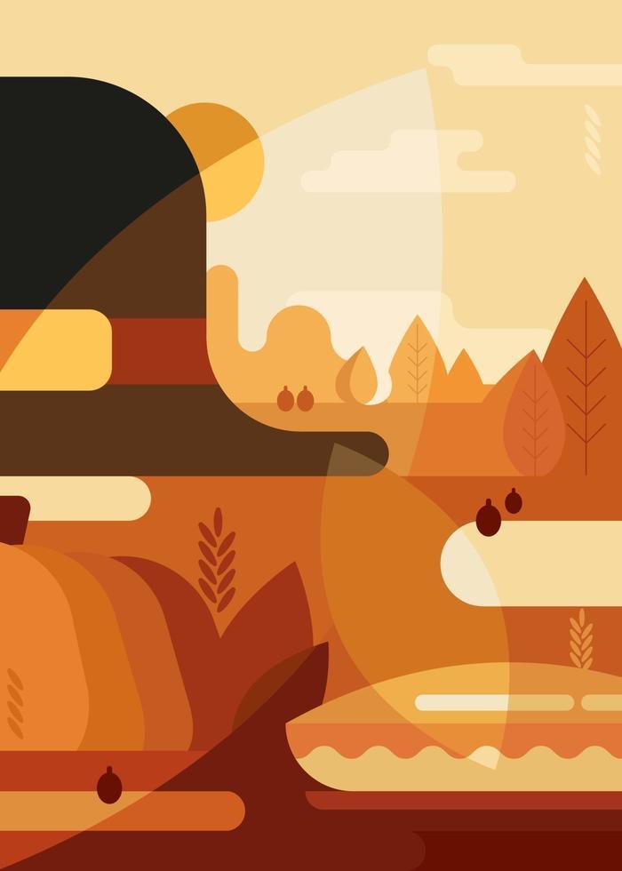 cartaz abstrato com chapéu tradicional e torta. cartão postal de ação de Graças. vetor