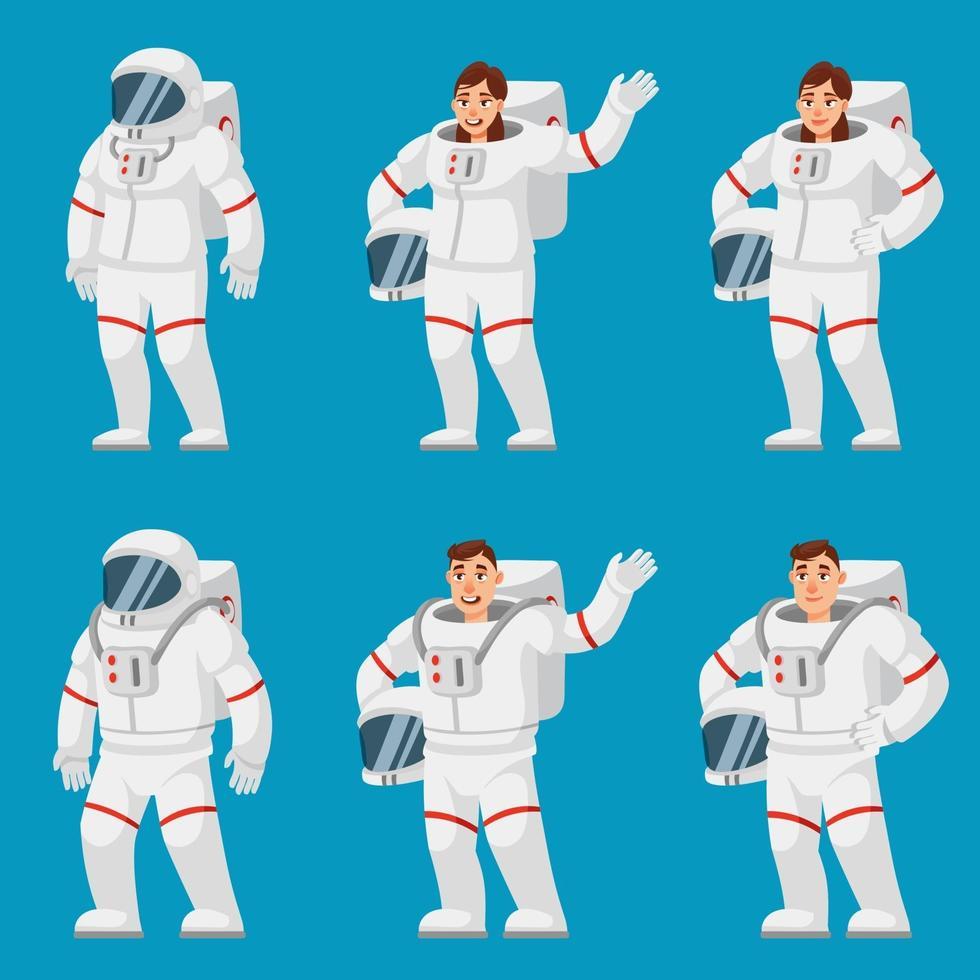 conjunto de astronautas em diferentes poses. pessoas do sexo masculino e feminino. vetor