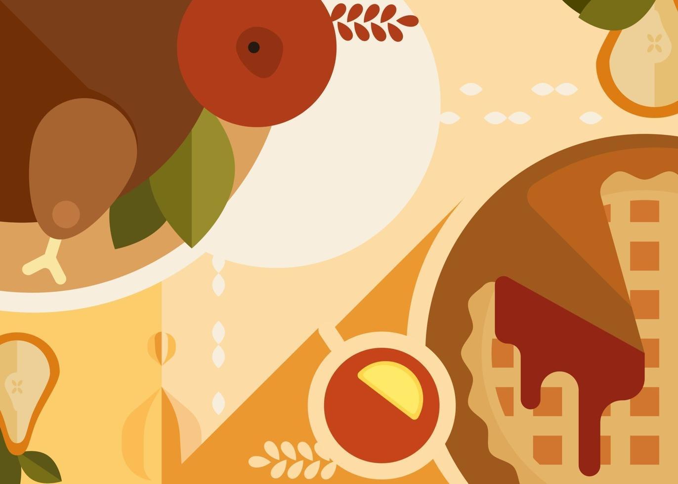 banner abstrato com jantar de ação de Graças. design de cartaz de férias. vetor