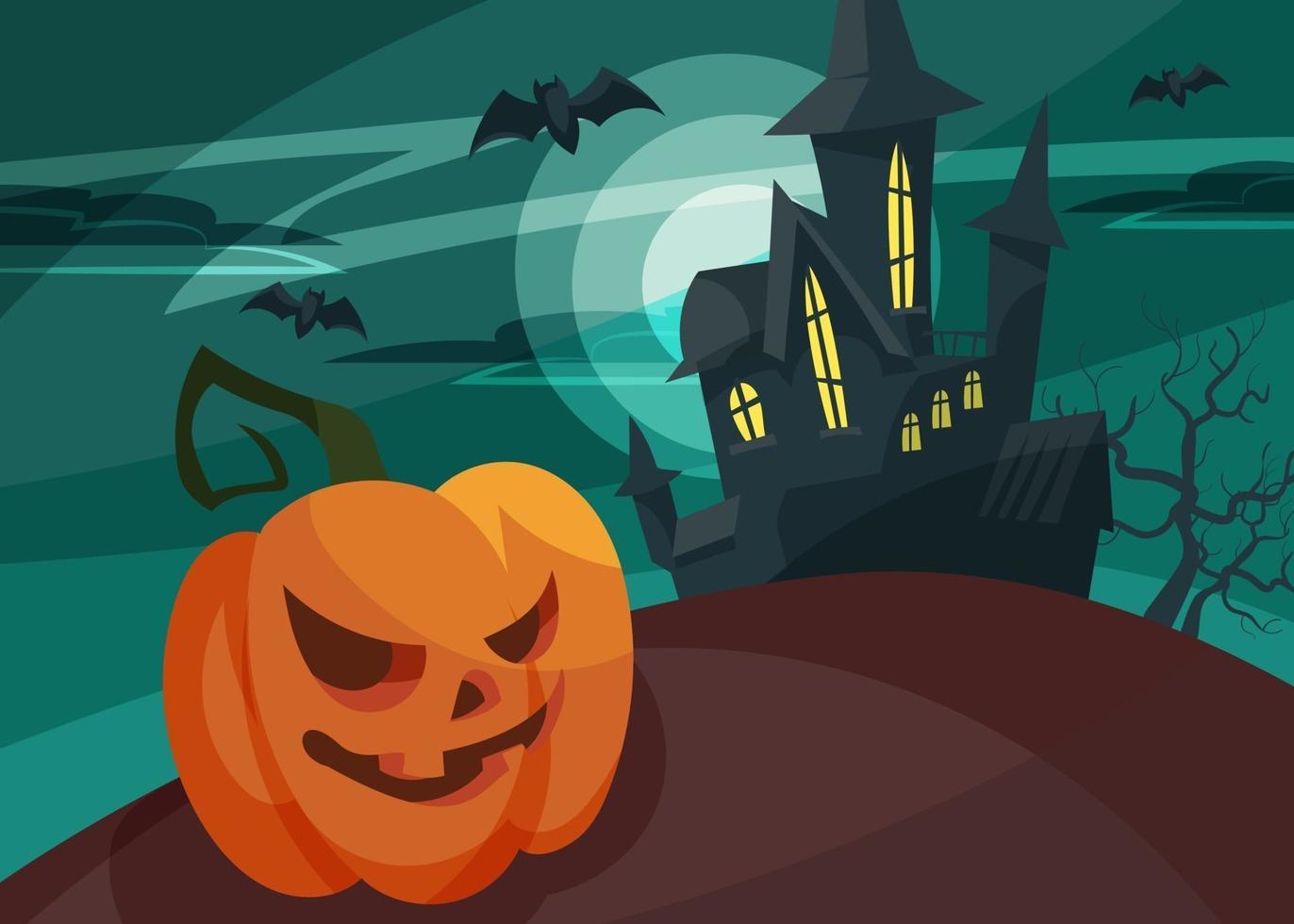 banner com cabeça de abóbora no fundo do castelo. cartão postal de halloween. vetor