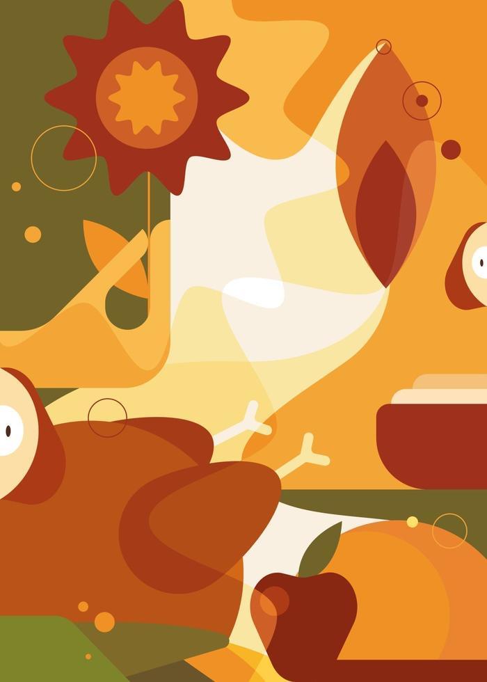 cartaz abstrato de ação de Graças. design de cartão postal de férias em estilo simples. vetor