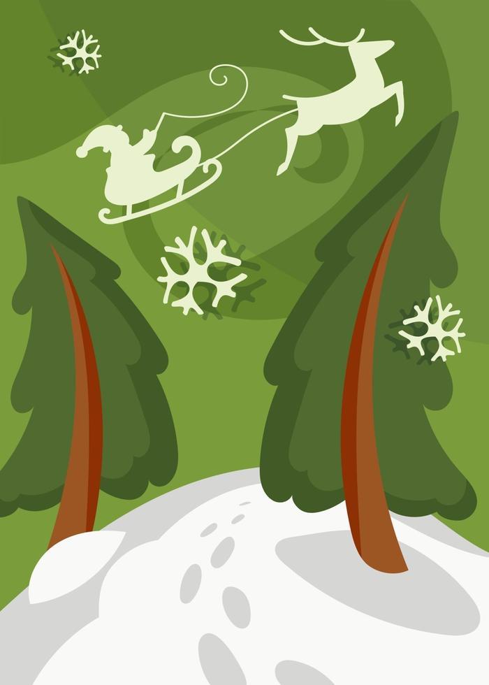 Papai Noel voando no trenó sobre os abetos vermelhos. cartaz de natal. vetor